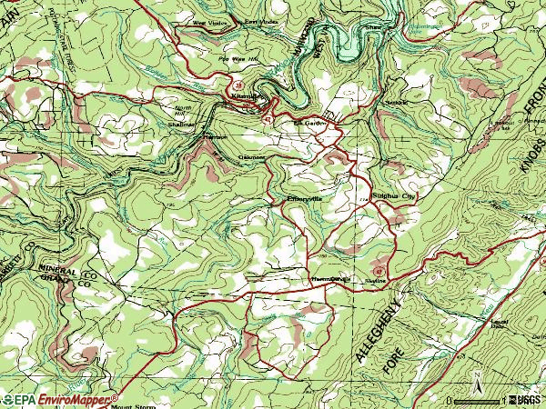 Zip code 26717 topographic map