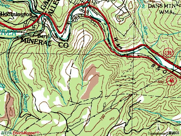 Zip code 26750 topographic map