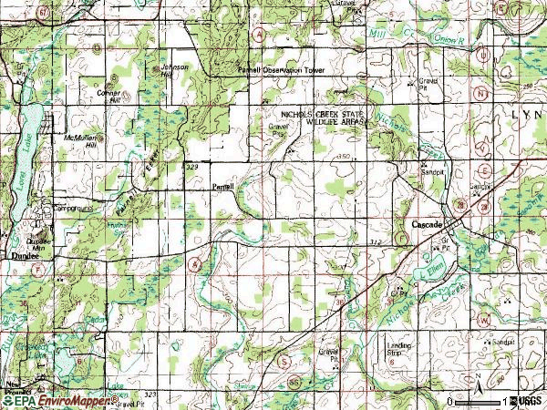 Zip code 53011 topographic map