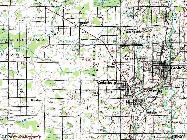 Zip code 53012 topographic map