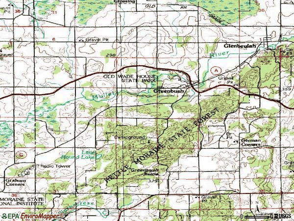 Zip code 53023 topographic map