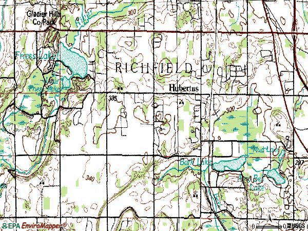 Zip code 53033 topographic map