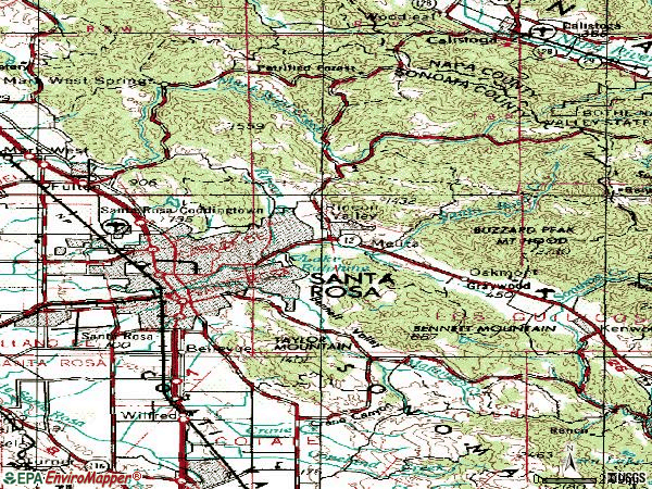 Zip code 95404 topographic map