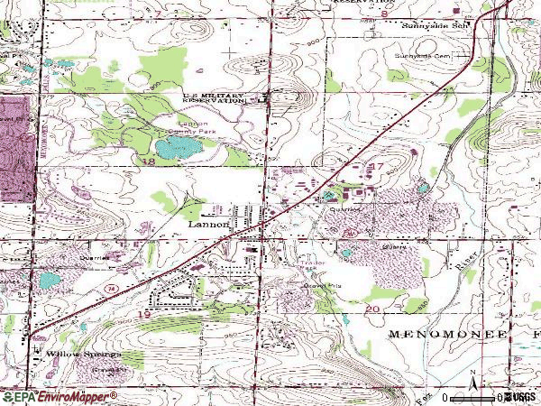 Zip code 53046 topographic map
