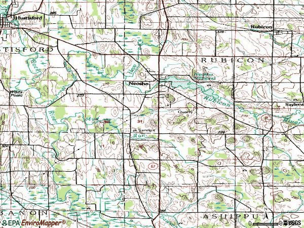 Zip code 53059 topographic map