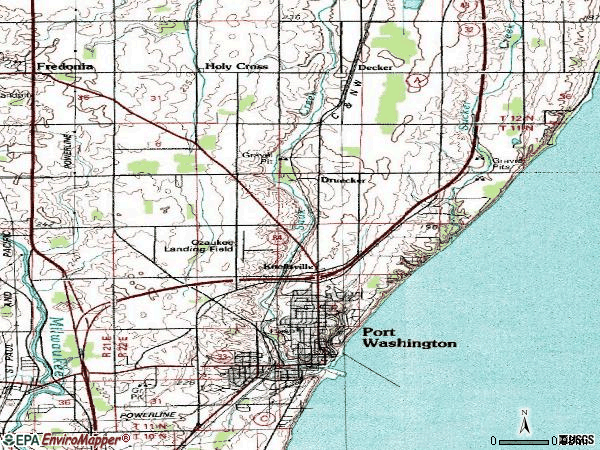 Zip code 53074 topographic map