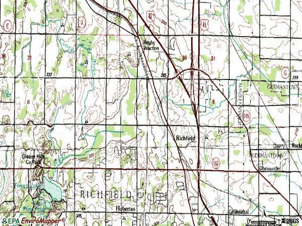 Zip code 53076 topographic map
