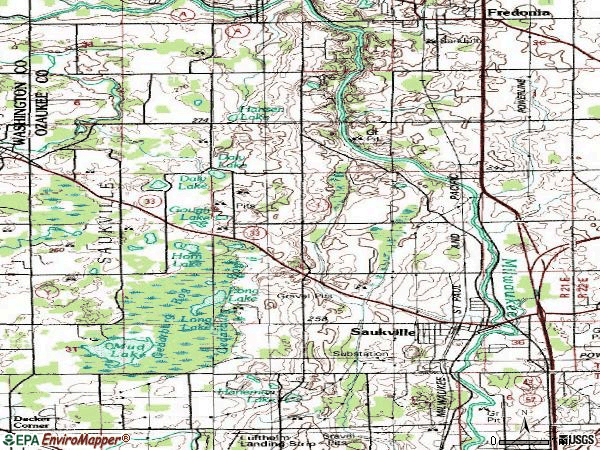 Zip code 53080 topographic map