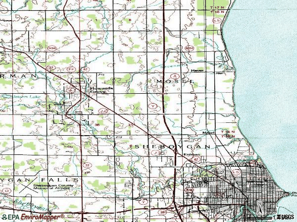 Zip code 53083 topographic map