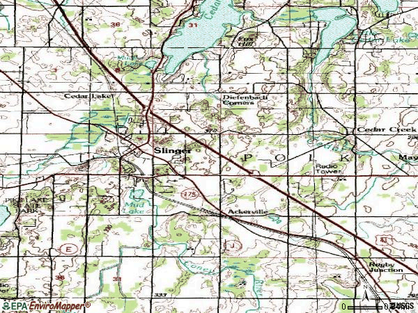 Zip code 53086 topographic map