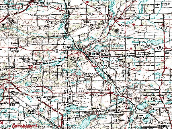 Zip code 53105 topographic map