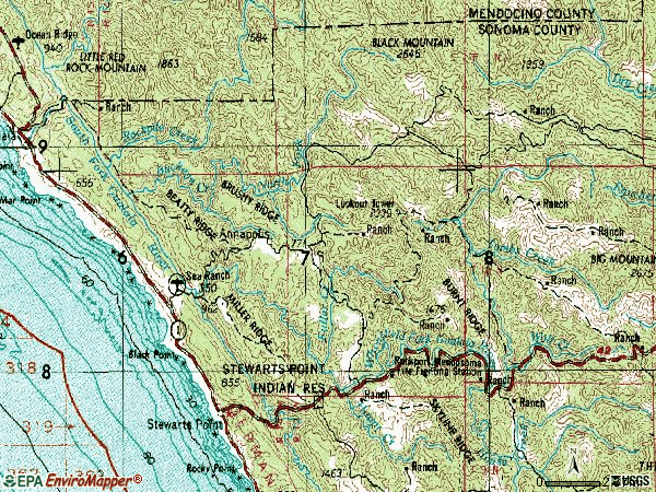Zip code 95412 topographic map
