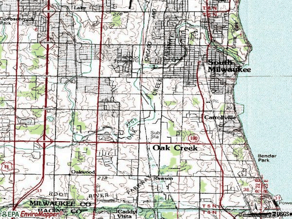 Zip code 53154 topographic map