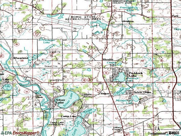 Zip code 53168 topographic map
