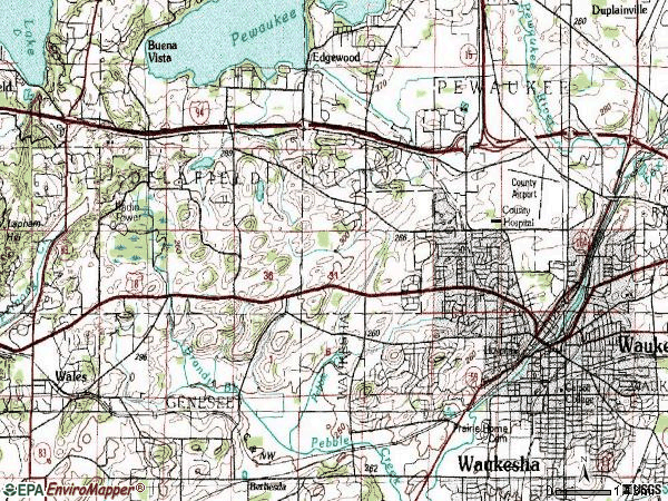 Zip code 53188 topographic map