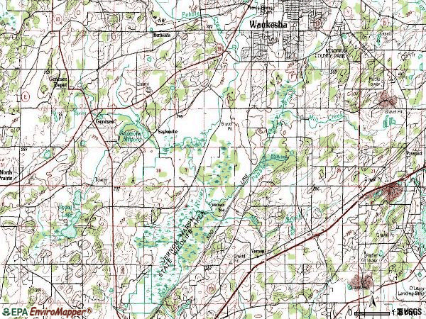 Zip code 53189 topographic map