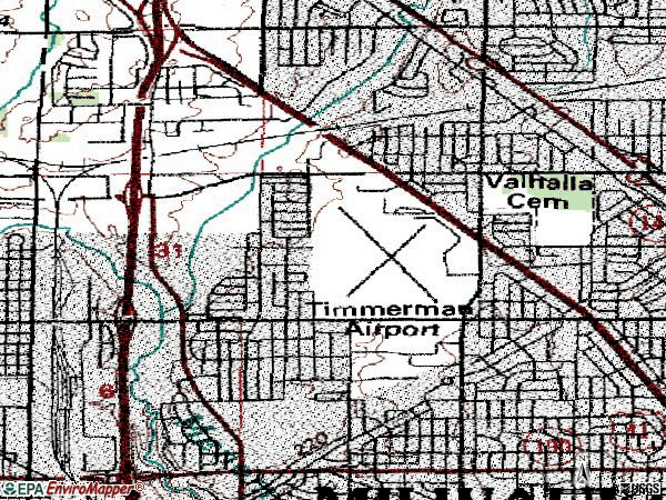 Zip code 53225 topographic map