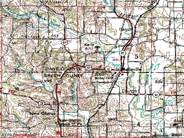 Zip code 53508 topographic map