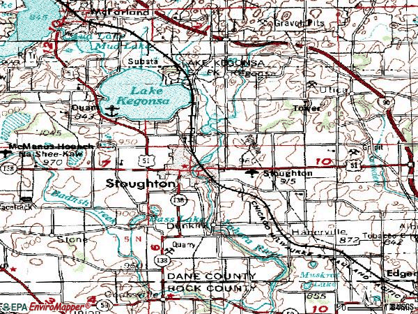 Zip code 53589 topographic map