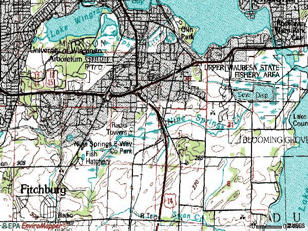 Zip code 53713 topographic map