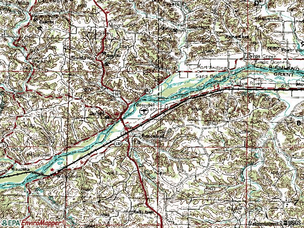 Zip code 53805 topographic map