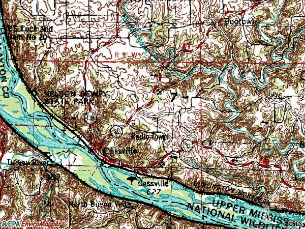 Zip code 53806 topographic map