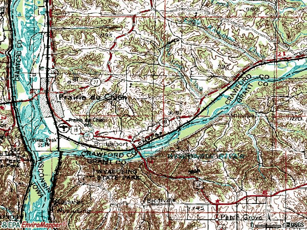 Zip code 53821 topographic map