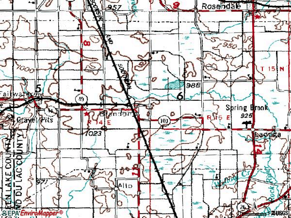 Zip code 53919 topographic map