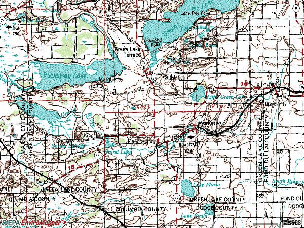 Zip code 53946 topographic map