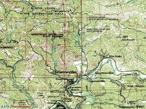 Zip code 95446 topographic map