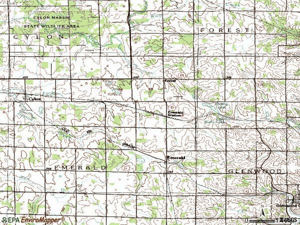 Zip code 54012 topographic map