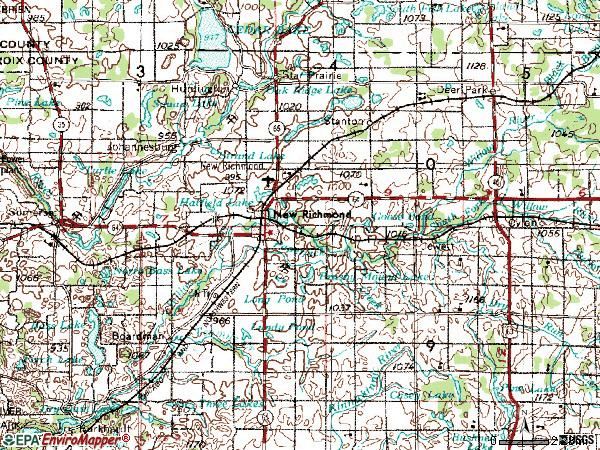 Zip code 54017 topographic map