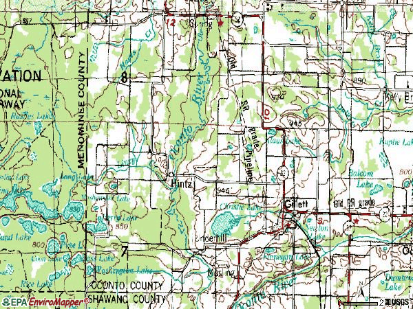 Zip code 54124 topographic map