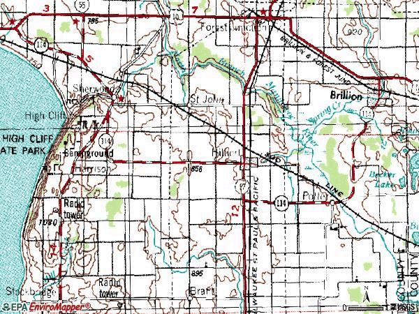 Zip code 54129 topographic map
