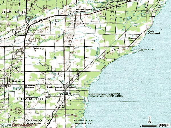 Zip code 54141 topographic map