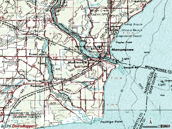 Zip code 54143 topographic map