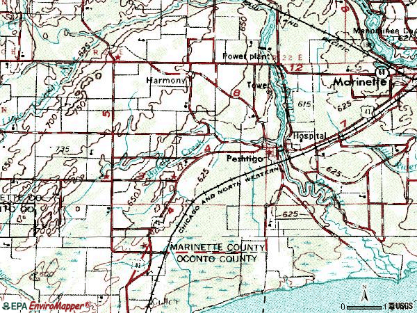 Zip code 54157 topographic map