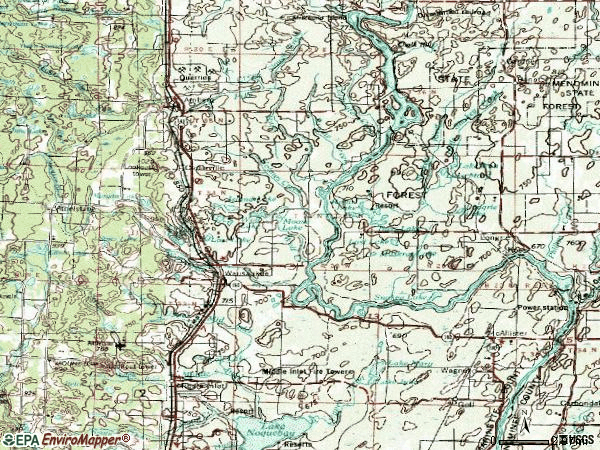 Zip code 54177 topographic map
