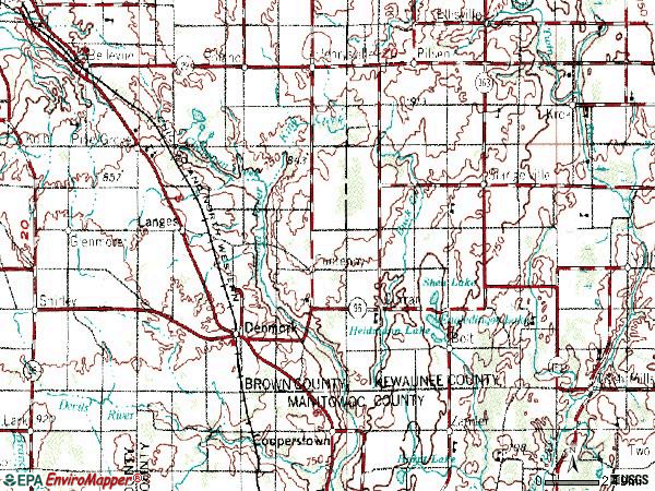 Zip code 54208 topographic map
