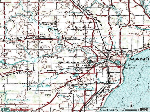 Zip code 54220 topographic map
