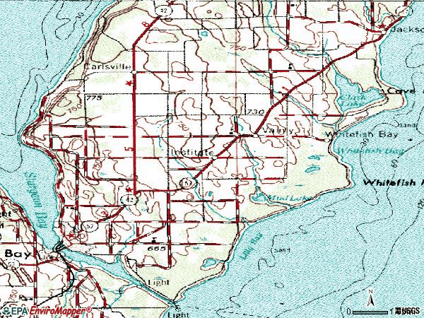 Zip code 54235 topographic map