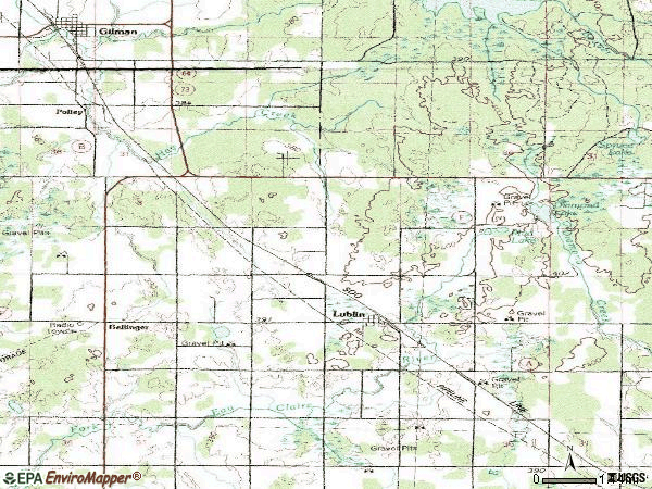 Zip code 54447 topographic map