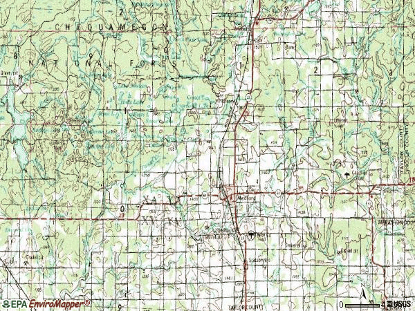 Zip code 54451 topographic map