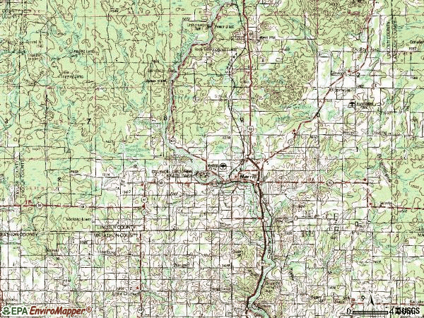 Zip code 54452 topographic map