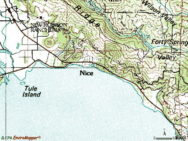 Zip code 95464 topographic map
