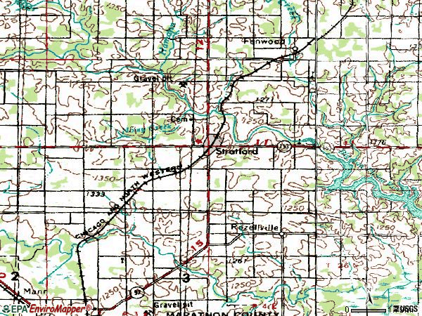Zip code 54484 topographic map