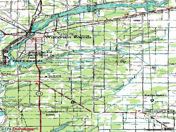 Zip code 54494 topographic map