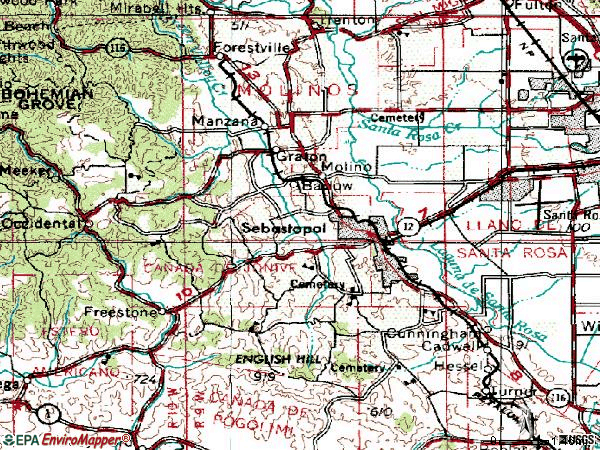 Zip code 95472 topographic map