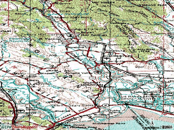 Zip code 95476 topographic map