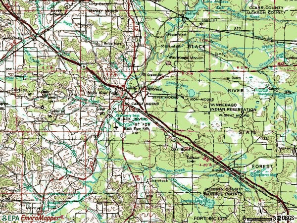Zip code 54615 topographic map